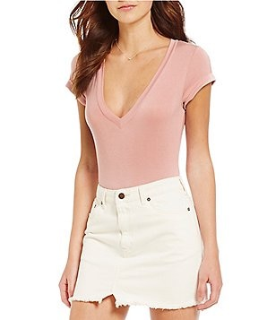 Free People Me Oh My V-Neck Short Sleeve Solid Knit Bodysuit