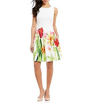 Calvin Klein Floral-Hem Fit-and-Flare Dress