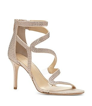 Imagine Vince Camuto Prest Shimmer Gold Pin Dot Dress Sandals