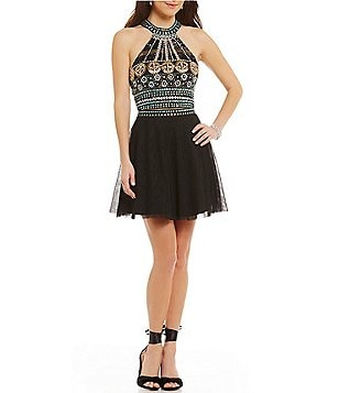 Midnight Doll Beaded Halter Top Two-Piece Party Dress
