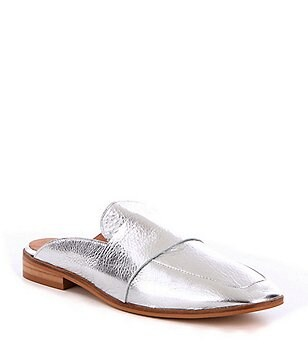 Free People At Ease Metallic Leather Slip-On Dress Mules