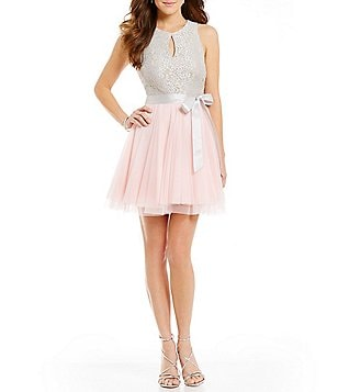 Teeze Me High Neck Color Block Lace Bodice Fit-and-Flare Dress