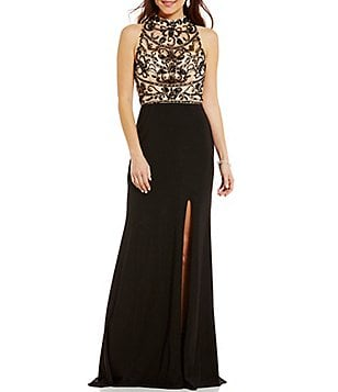 Coya Collection Opaque Beaded Bodice Mock Neck Illusion-Yoke Open-Back Long Dress