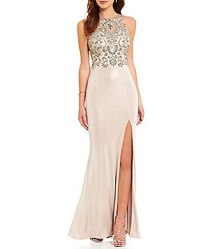 Coya Collection High Neck Illusion-Back Embroidered Beaded Bodice Long Dress