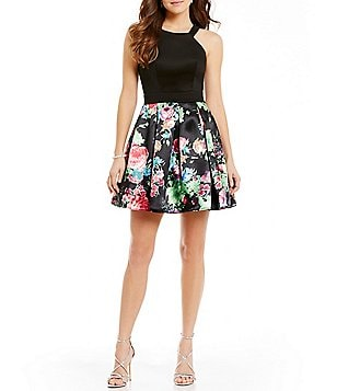 Teeze Me High Neck Solid Scuba Bodice to Floral-Print Pleated Skirt Skater Dress