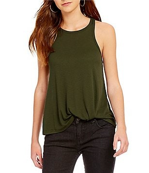 Free People High Neck Solid Rib Knit Tank Top