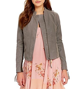 Free People Cool & Clean Notch Collar Zip Front Faux-Suede Moto Jacket