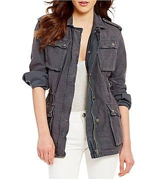 Free People Not Your Brother´s Front Zip Patch Pocket Drawstring Cargo Jacket