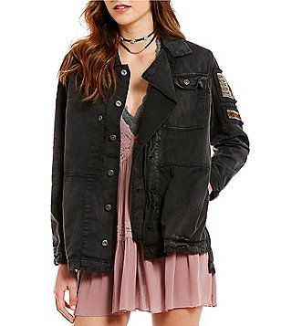 Free People Patched Pocket Embellished Military Jacket
