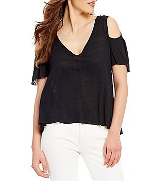 Free People Bittersweet Cold-Shoulder Short Sleeve V-Neck Tee