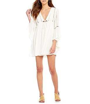 Free People Romeo Plunging V-Neck 3/4 Bell Sleeve Tie-Front Mini Dress