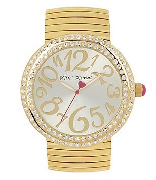 Betsey Johnson Crystal-Bezel Analog Bracelet Watch