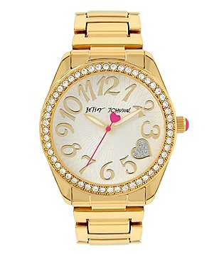 Betsey Johnson Crystal-Bezel Glitter Heart Analog Bracelet Watch