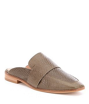 Free People At Ease Leather Snake Print Open-Back Slip-On Mules