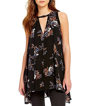 Free People Snap Out Of It Tree Crew Neck Sleeveless Printed Swing Tunic