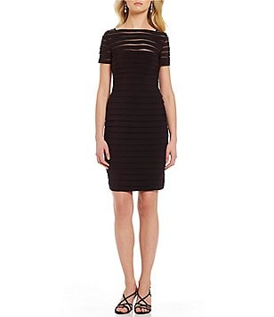 Adrianna Papell Illusion Neck Short Sleeve Solid Sheath Dress