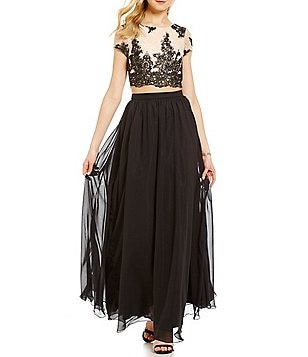 Xtraordinary Embroidered Sequin Open-Back Top Two-Piece Long Dress