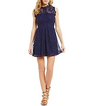 Xtraordinary Scalloped Mock Neck Illusion-Yoke Scalloped Lace Dress