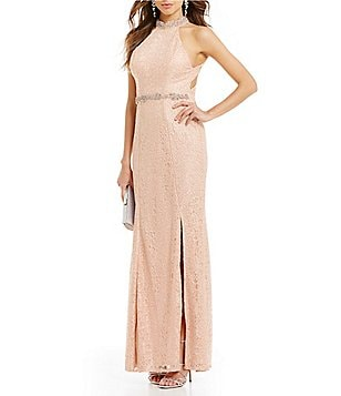 Sequin Hearts Beaded Mock Neck Metallic Corded-Lace Long Dress