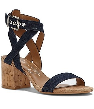 Arturo Chiang Hammil Denim Banded Ankle Strap Block Heel Dress Sandals