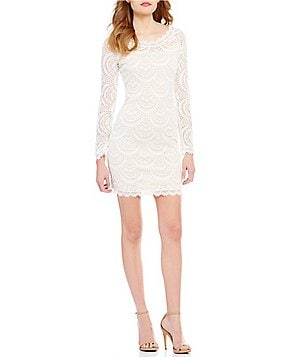 Sequin Hearts Scalloped Lace Long-Sleeve Sheath Dress