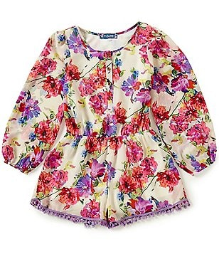 Truly Me Big Girls 7-16 Floral-Print Long-Sleeve Romper