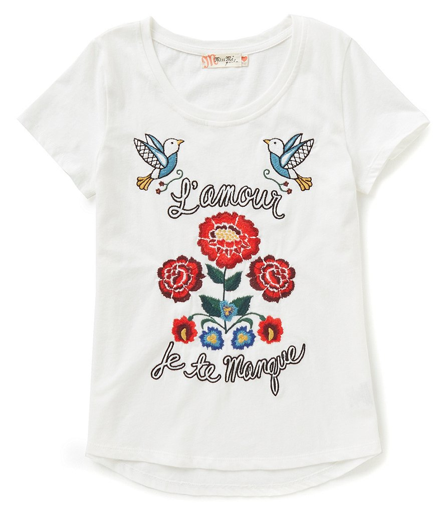 miss me girls big girls 716 shortsleeve embroidered