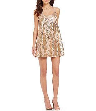 Honey and Rosie Sequin Floral Pattern Slip Dress