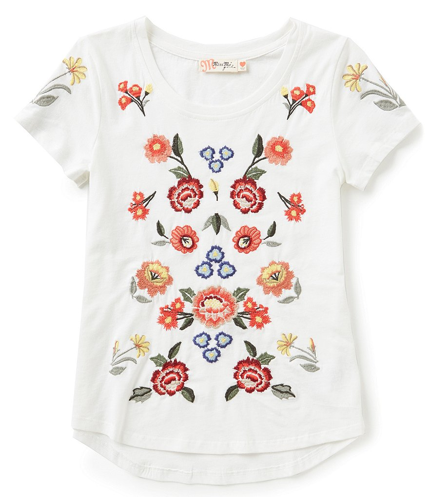 miss me girls big girls 716 floralembroidered short