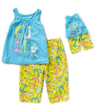 Komar Kids Little/Big Girls 4-14 Anchor Tank & Printed Pants Pajama Set