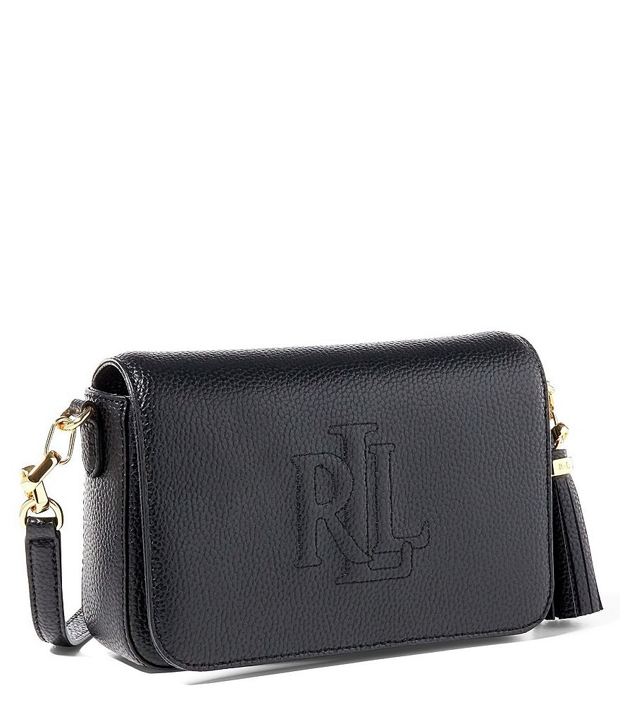 Lauren Ralph Lauren Carmen Tasseled Monogram-Stitched Cross-Body Bag