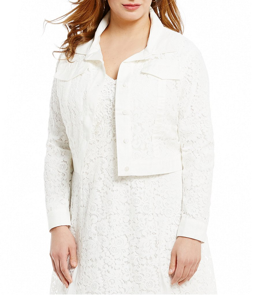 Reba Shades of Spring Plus Collection Lace Button Up Jacket