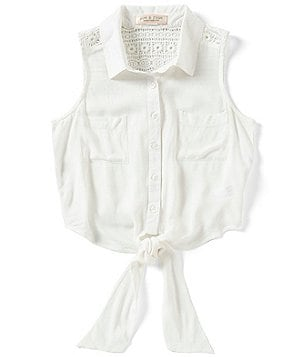 Zoe & Rose by Band of Gypsies Big Girls 7-16 Tie-Front Button-Down Sleeveless Top
