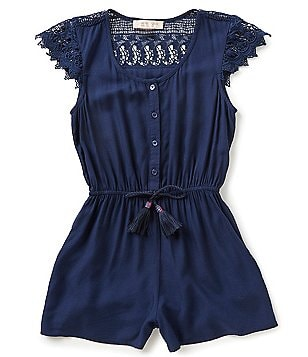 Zoe & Rose by Band of Gypsies Big Girls 7-16 Lace Cap-Sleeve Tassel-Tie Romper