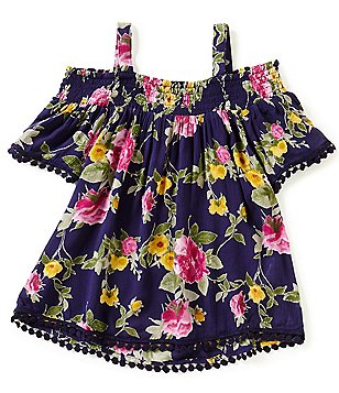 Zoe & Rose by Band of Gypsies Big Girls 7-16 Floral-Print Pom-Pom Short-Sleeve Cold-Shoulder Top