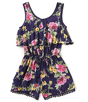 Zoe & Rose by Band of Gypsies Big Girls 7-16 Floral-Print Pom-Pom Romper