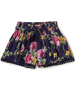 Zoe & Rose by Band of Gypsies Big Girls 7-16 Floral-Print Pom-Pom Shorts