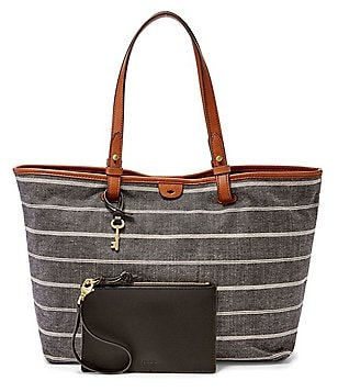 Fossil Rachel Striped Chambray Tote