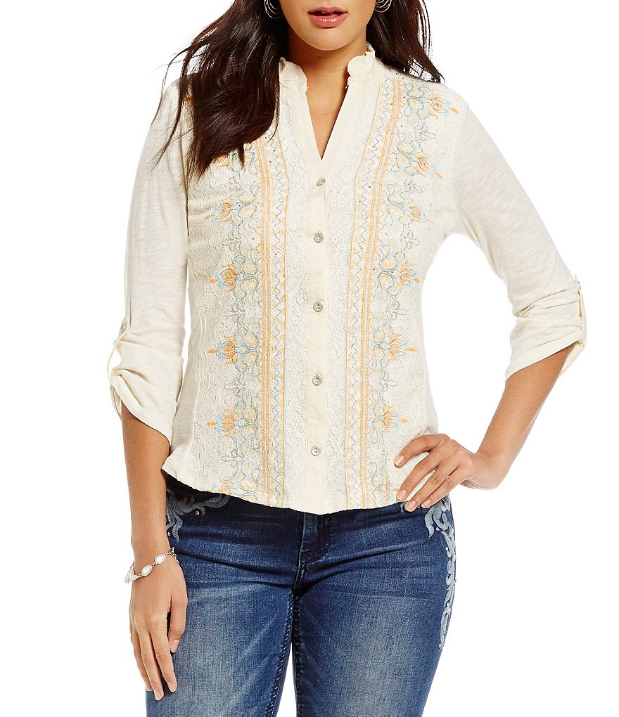 Reba Printed Lace Button Up Top