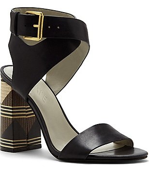 1. STATE Rayla Leather Banded Tribal Print Block Heel Dress Sandals