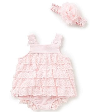 Starting Out Baby Girls Newborn-9 Months Lace Tank Top, Matching Diaper Cover, & Flower Headband Set
