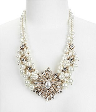 Belle Badgley Mischka Vintage Faux-Pearl Cluster Statement Necklace