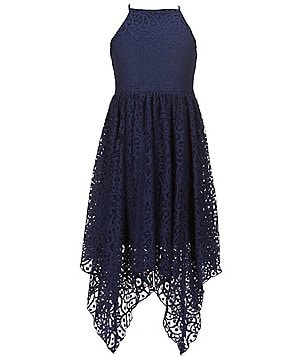 GB Girls Big Girls 7-16 Halter-Neck Floral Lace Sharkbite-Hem Dress