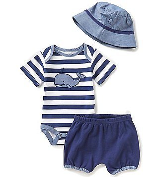 Starting Out Baby Boys Newborn-9 Months Whale Bodysuit, Shorts, & Hat Set