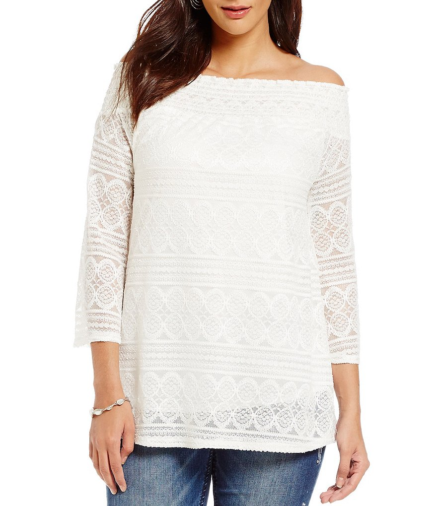 Reba Off-the-Shoulder 3/4 Sleeve Lace Top