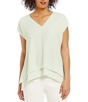 Preston & York Camille Short Sleeve Double Layer Blouse