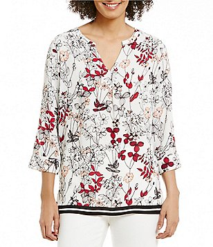 Preston & York Leann Split Neck Floral Blouse