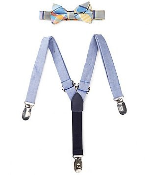 Starting Out Baby Boys Spring Plaid Bow Tie and Suspender Set