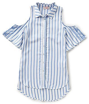 GB Girls Big Girls 7-16 Striped Embroidered Cold-Shoulder Button-Front High-Low Top