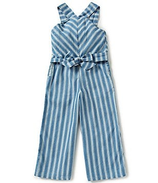 GB Girls Big Girls 7-16 Striped Wide-Leg Cropped Jumpsuit
